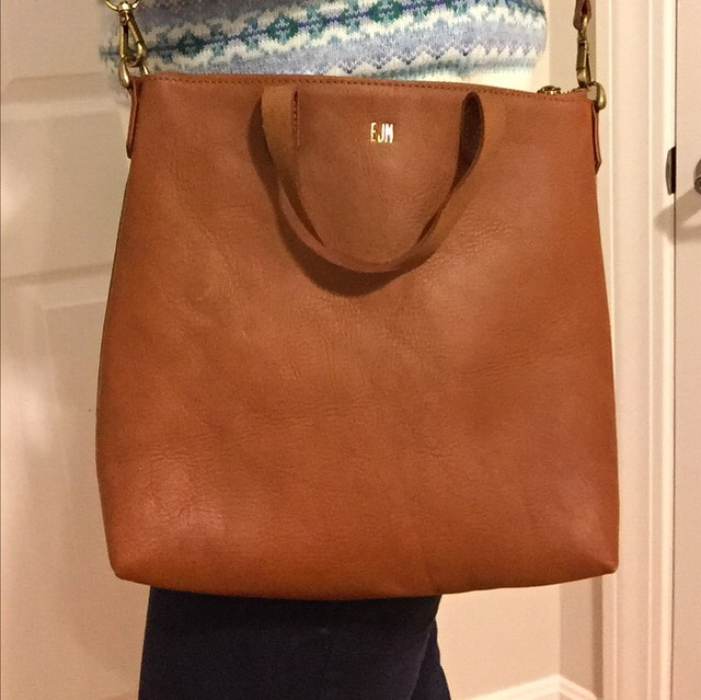 Cognac bag, tote, crossbody bag