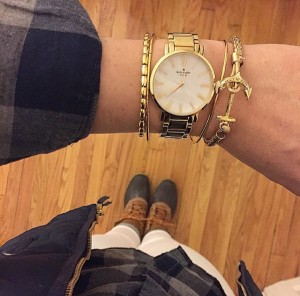 Kate Spade watch, KJP anchor bracelet, alex and ani