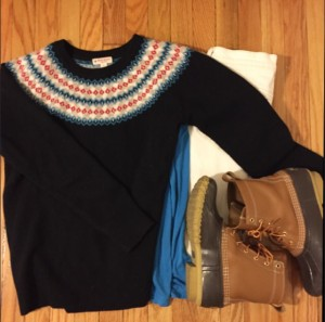 jcrew, bean boots, brooks brothers, fair isle sweater