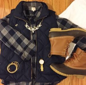 puffer vest, jcrew, bean boots, kjp bracelet, preppy