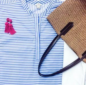 stripes, preppy, market tote, tassel earrings, preppy style